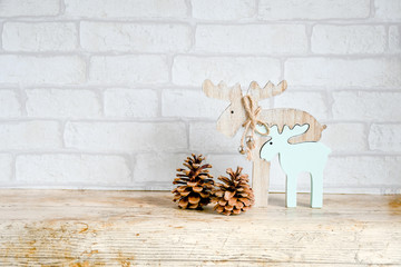 Close up  decorate for christmas put on nature wood and background white brick, invation card for christmas and newyear concept, happy time with family,