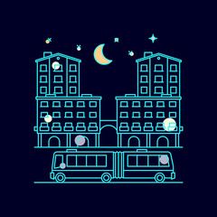 Night city landscape with moon, stars and homes, bus, vector illustration