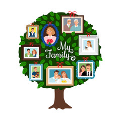 Family tree. Vector genealogical tree with green leaves, grandfather and sister, ancestor and friendly people isolated on white