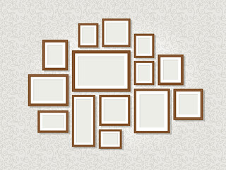 Wall photo frames. Exhibition or art gallery retro picture frame set, decoration empty blank borders isolated on background, vector illustration