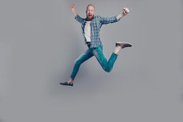 Full legs body size carefree careless leisure lifestyle man jump