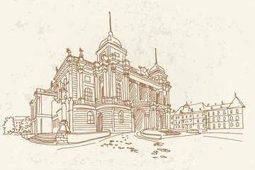 Wall Mural - Vector sketch of Croatian National Theater in Zagreb, Croatia.