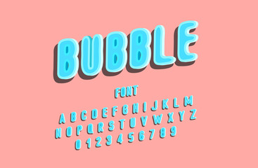 Stylized bubble gum font, alphabet, letters and numbers. Vector Illustration