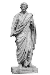Fototapeta Caesar Octavianus Augustus roman emperor adopted son of Julius Caesar. Isolated statue on white obraz