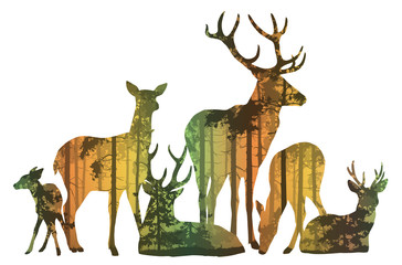 Wall Mural - herd of deer silhouette