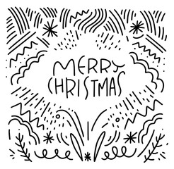 Merry Christmas hand drawn vector lettering. Calligraphy text for greeting cards on background.