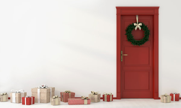 Festive interior with red door and gifts