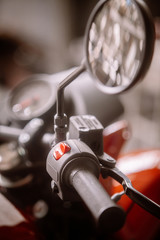Electronic start button on a motorcycle