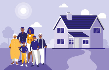 black family members with house