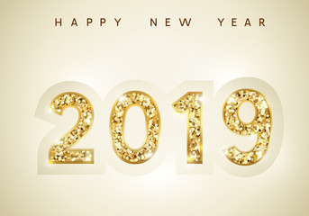 Wall Mural - 2019 Happy New Year background. Vector holiday greeting card. Festive design with gold confetti iridescent numbers and glare glitter.