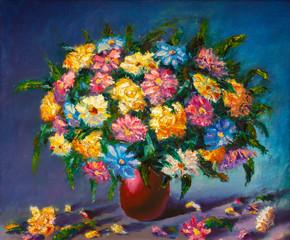 Original oil painting on canvas. Beautiful flowers. Modern art.