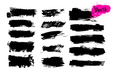 Set of hand drawn brush strokes, stains for backdrops. Monochrome design elements. Black monochrome artistic hand drawn backgrounds. Vector illustration. Isolated on white background.