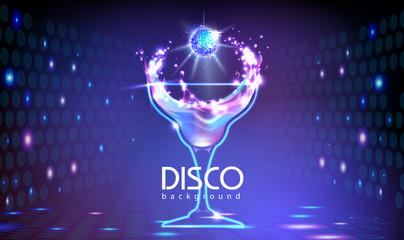 Neon Disco cocktail party background