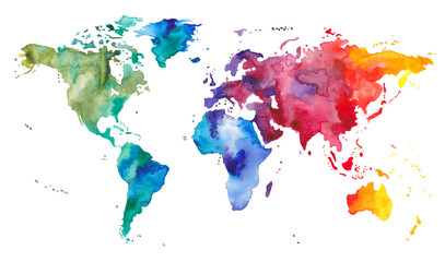 Watercolor World Map Wall mural
