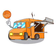 With basketball rendering cartoon of food truck shape