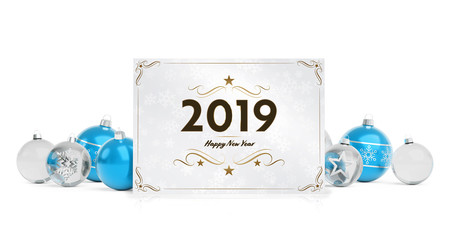 2019 card greetings laying on isolated blue white baubles 3D rendering
