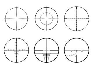 Set of AR crosshair scopes. Military sniper rifle target crosshairs