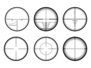 Collimato sight and sniper rifle crosshairs set. Military AR target and aim icons