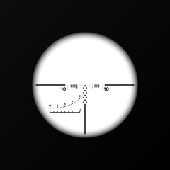Sniper crosshairs. Collimator sight with distance marks.
