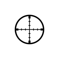Black aim icon. Sniper scope crosshairs sign.