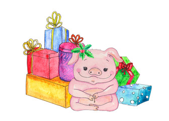 Christmas pig with presents
