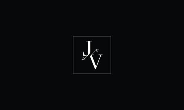 LETTER J AND V FLOWER LOGO WITH SQUARE FRAME FOR LOGO DESIGN OR ILLUSTRATION USE