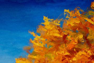 Autumn textural landscape oil painting - autumn trees, autumn park on a blue autumn background