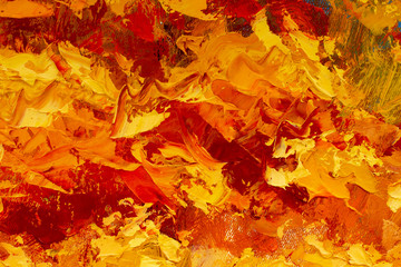 Abstract fire textural background oil painting