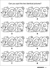IQ training visual logic puzzle and coloring page with year 2019 headings. Winter holidays, Christmas or New Year themed. Find two identical pictures. Answer included.