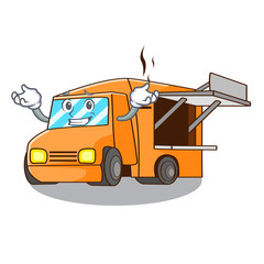 Grinning Food Truck with Isolated on mascot