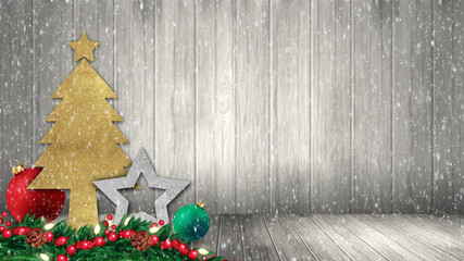 Christmas decorations on wood background with snow fir tree.