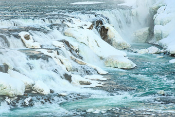 Gullfoss waterfalls in winter located along the golden circle route, Iceland