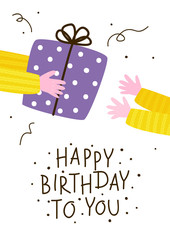 Birthday greeting card with gift giving