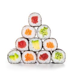 Foto op Plexiglas Sushi bar Pyramid of sushi hosomaki