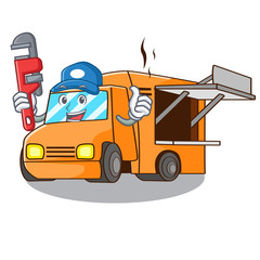 Plumber character food truck with awning beautiful