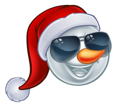 A cool snowman Christmas emoticon Emoji wearing a Santa hat and sunglasses or shades