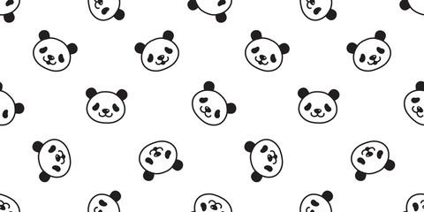 bear seamless pattern panda vector polar bear teddy scarf isolated tile background cartoon repeat wallpaper doodle illustration white