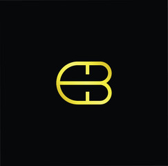 Outstanding professional elegant trendy awesome artistic black and gold color EB BE DB BD initial based Alphabet icon logo.