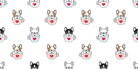 Dog seamless pattern french bulldog pug isolated cup heart valentine wallpaper background