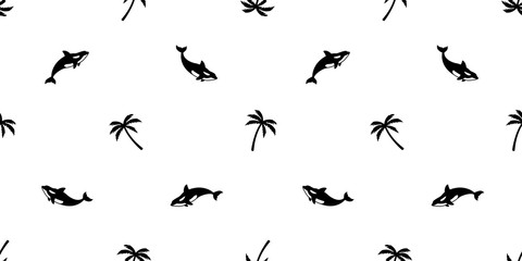 palm tree seamless pattern whale vector coconut tree shark dolphin ocean summer tropical scarf isolated tile background repeat wallpaper illustration