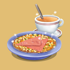 A illustration of Hong Kong style food Macaroni with ham & hot milk tea