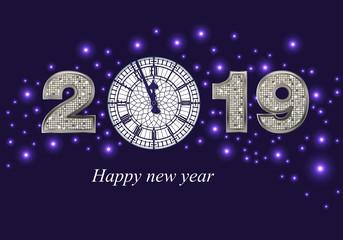 Carte de vœux festive pour le nouvel an 2019, avec l'horloge de Big-Ben à la place du zéro, sur un fond de ciel étoilé.