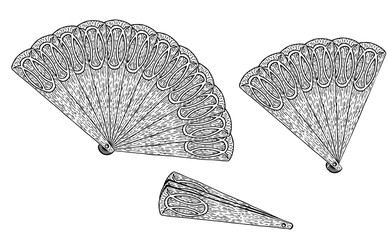 Theatrical handheld fans. Vector chinese or japanese paper fan isolated on white background. Open, half open and closed fan.