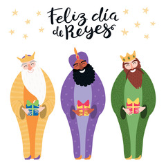 Photo sur Aluminium Des Illustrations Hand drawn vector illustration of three kings with gifts, Spanish quote Feliz Dia de Reyes, Happy Kings Day. Isolated objects on white. Flat style design. Concept, element for Epiphany card, banner.