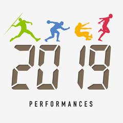 Carte de vœux 2019 sur le concept du sport, de l'athlétisme et de la performance. L'esprit de compétition pour relever les challenges de la nouvelle année