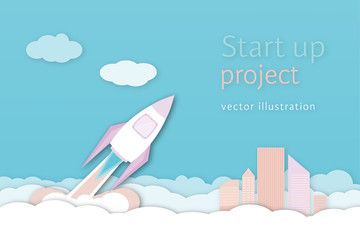 Business and finance. Vector illustration of rocket for business concept or launch project in cartoon flat design.
