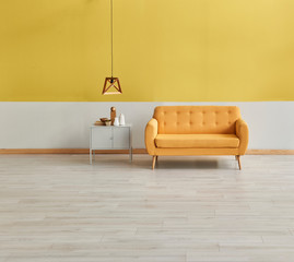 Yellow wall yellow sofa wooden lamp and grey cabinet decoration interior living room.
