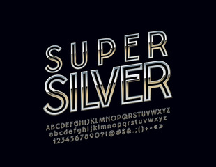 Vector set of Super Silver Alphabet Letters, Numbers and Symbols. Metallic gradient Font.