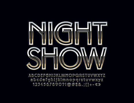 Silver Logo with text Night Show. Vector set of Alphabet letters, Numbers and Symbols. Metallic gradient Font.
