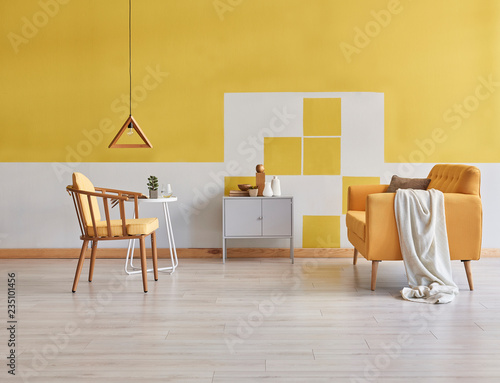 Yellow Room Yellow Wall Wooden Chair With Yellow Mattress Yellow